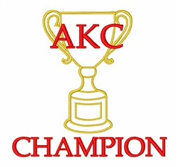 Trophy AKC Champion embroidery design