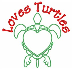 Love Turtles embroidery design