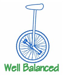 Unicycle Mobile Device Balanced embroidery design