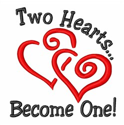 Two Hearts Become One embroidery design