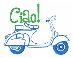 Italian Scooter Ciao! embroidery design