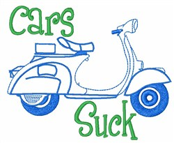 Italian Scooter Cars Suck embroidery design