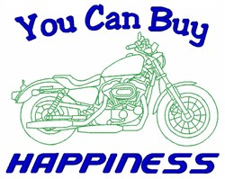 Motorcycle Buy Happiness embroidery design