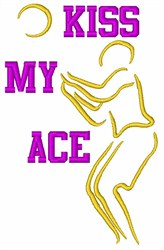 Kiss My Ace Volleyball embroidery design