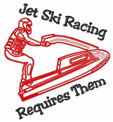 Jet Ski Racer embroidery design