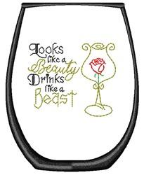 Drinks Like Beast embroidery design