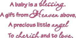 Baby Is Blessing embroidery design