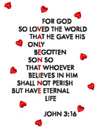 John 3:16 embroidery design