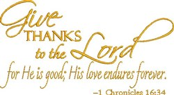 Thanks To The Lord embroidery design