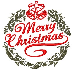 Merry Christmas Wreath embroidery design