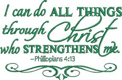 Christ Strengthens embroidery design