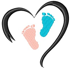 Feet In Heart embroidery design
