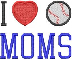 I HEART BASEBALL MOMS 1 embroidery design