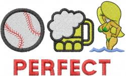 BASEBALL, BEER & BABES embroidery design