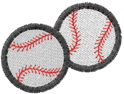 Two Baseballs embroidery design
