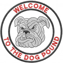 BULLDOG HEAD 4 – WELCOME TO THE DOG POUND – DBL CRCL embroidery design