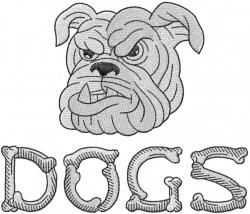 BULLDOG HEAD 4 – DOGS – BONE LETTERS embroidery design