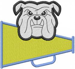 BULLDOG HEAD 3 – MEGAPHONE W LETTERING embroidery design