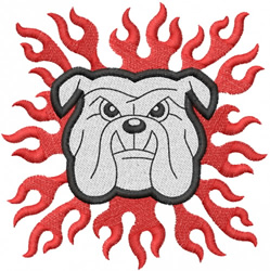 BULLDOG HEAD 3 – W FLAMES embroidery design