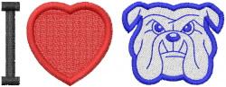 BULLDOG HEAD 3 – I HEART BULLDOGS embroidery design
