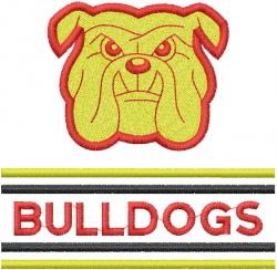 BULLDOG HEAD 3 – DOUBLE STRIPES – BULLDOGS embroidery design
