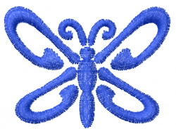 Butterfly 4 Blue Swoosh embroidery design