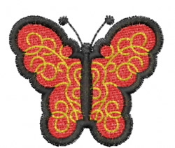 Butterfly 11 Red Chantilly Lace embroidery design