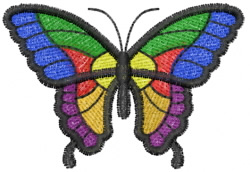Butterfly 16 Rainbow embroidery design