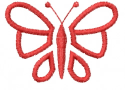 Butterfly 26 Red Outline embroidery design