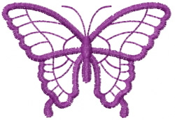 Butterfly 37 Purple Outline embroidery design