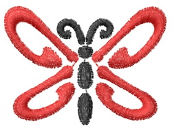 Butterfly 42 Red Swoosh embroidery design