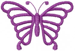 Butterfly 44 Grape Outline embroidery design
