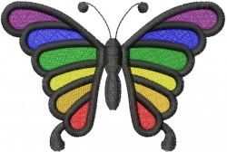 Rainbow Butterfly embroidery design