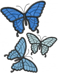 Three Butterflies embroidery design
