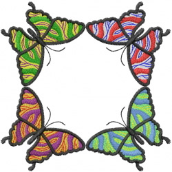 Four Marbled Butterflies embroidery design