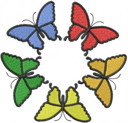 Five Butterflies Rainbow Circle embroidery design