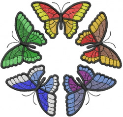 Five Butterflies Circle embroidery design