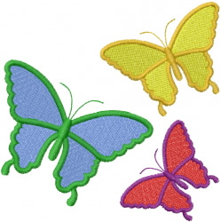 Three Simple Butterflies embroidery design