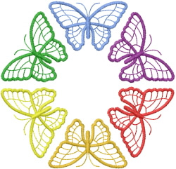 Six Butterflies in a Circle embroidery design