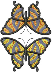 TWO MIRRORED MARBLE BUTTERFLYS embroidery design