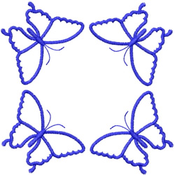 FOUR BUTTERFLY OUTLINES - SQUARED embroidery design