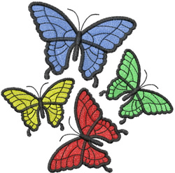 FOUR BUTTERFLYS FLUTTERING ABOUT embroidery design