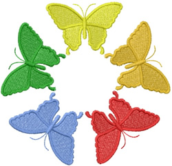 FIVE ONE COLOR BUTTERFLYS embroidery design