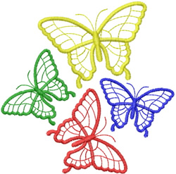FOUR BUTTERFLY OUTLINES FLITTERING ABOUT embroidery design