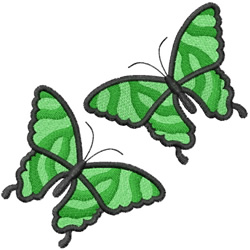 TWO STRIPED BUTTERFLYS embroidery design