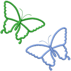 TWO SIMPLE BUTTERFLY OUTLINES embroidery design
