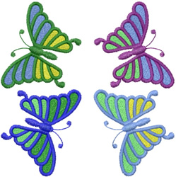 FOUR DANCING BUTTERFLYS embroidery design