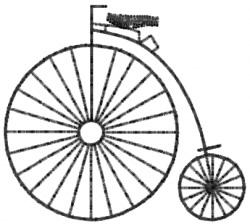 Old Time Big Wheel Bike embroidery design