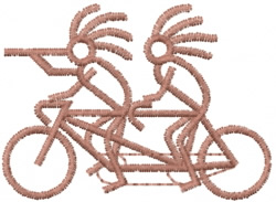 Kokopelli Tandem Bike embroidery design