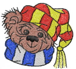 Teddy Bear Head With Cap And Scarf embroidery design